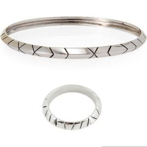 House of Harlow Palladium Thin Bangle & Ring Set